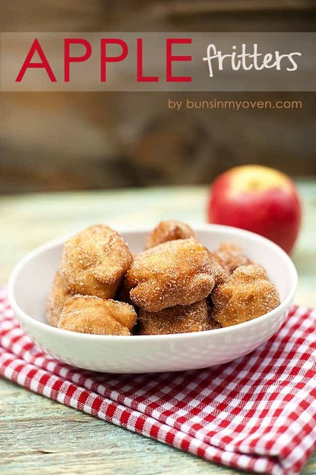 A close up of a bowl of apple fritters