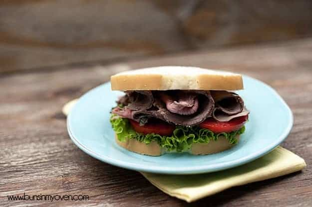 The roast beef sandwich on a white plate