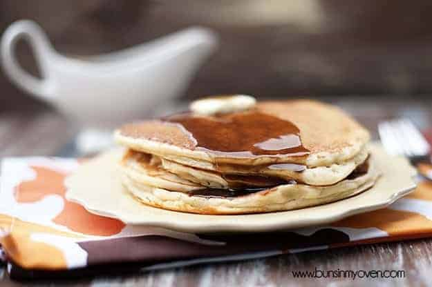 A plate of apple cider pancakes