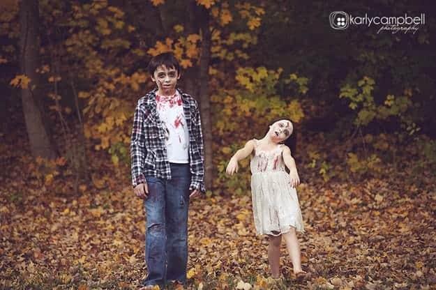 two zombie kids walking outside