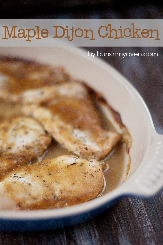 A white pan of chicken breast covered in maple dijon sauce.