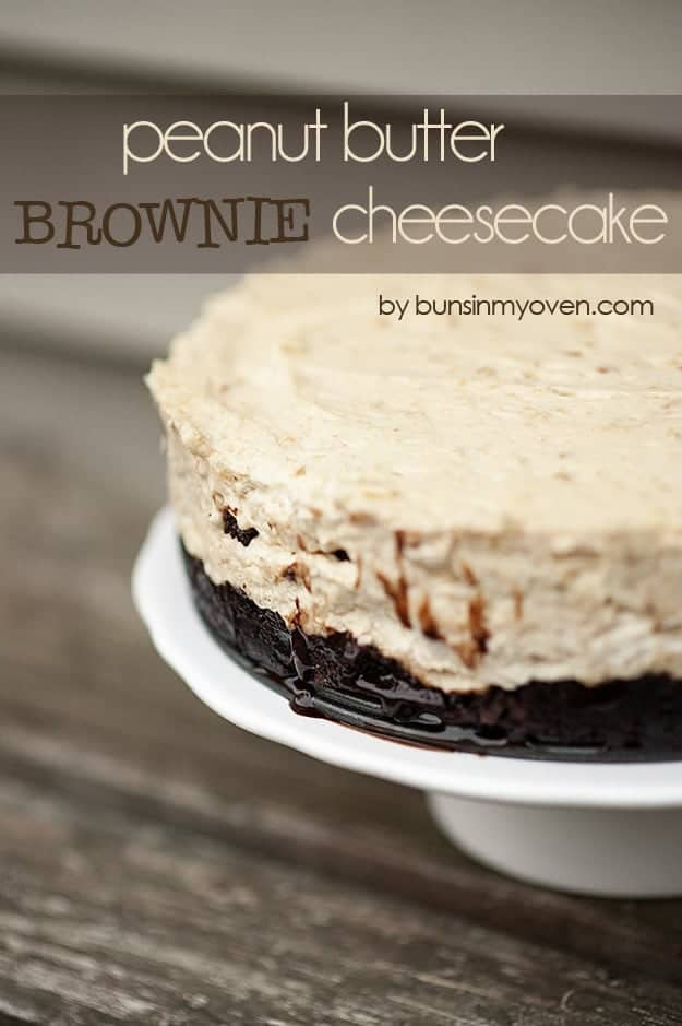 A brownie cheesecake on a cake stand