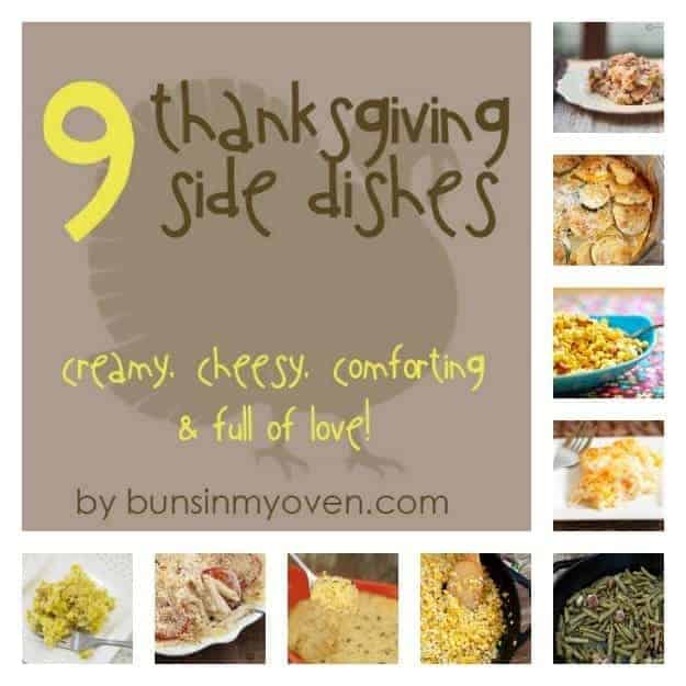A photo collage of various thanksgiving side dishes.